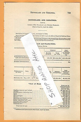 1906 original RR report RENSSELAER & SARATOGA RAILROAD Albany Troy Ballston NY