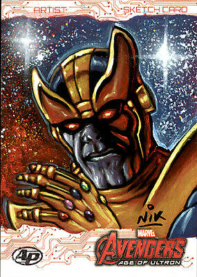 Avengers Age of Ultron THANOS AP SketchCard by Nick NIK Neocleous Artists proof