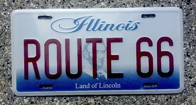 Illinois Novelty License Plate, ROUTE 66 Embossed Very Nice
