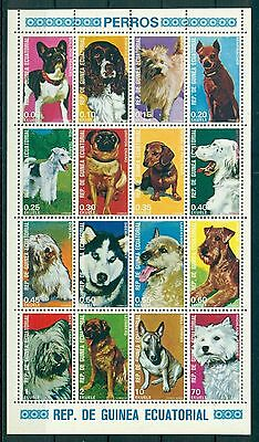 EQUATORIAL GUINEA*1977* M/Sheet (16 stamps) *MNH** Dogs -Mi.No 1054-69KB