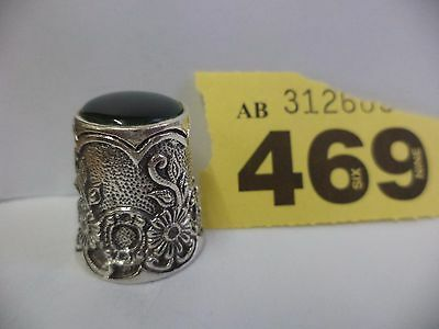 Continental / Scandinavian Solid Silver Thimble with Floral Decor & Green Stone
