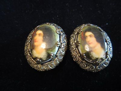 Victorian W GERMANY Signed Antique Gold Painted Portrait Lady Cameo Earrings