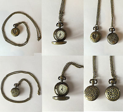 Steampunk Antique Brass Effect Stop Watch Pendant/Necklace