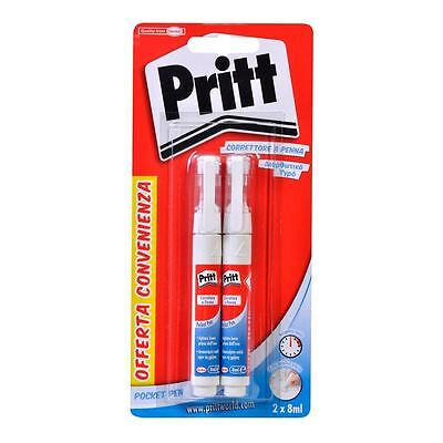 Pritt Correction Pen Set of 2 Metal Tip 8 ml White Out Multi-Purpose