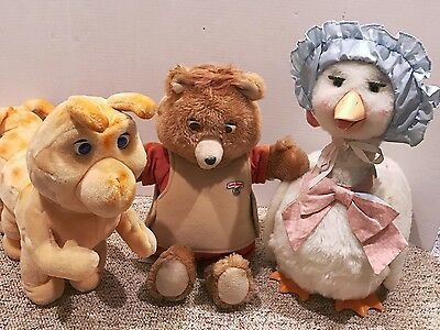 3PC Teddy Ruxpin Lot WOW Worlds Wonder Teddy Grubby Mother Goose Parts / Repair