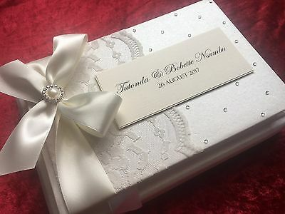 Wedding Guest Book Engagement Gift Vintage Ivory Lace Luxury Boxed