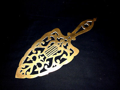 "11.5"" Antique English Solid Brass Trivet Harp Lyre Hot Plate Metal Work Open"