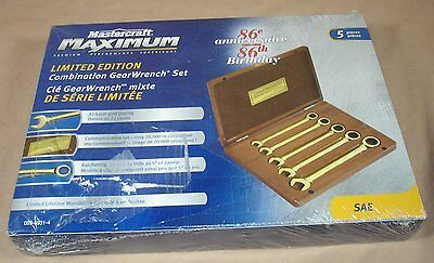 Canadian Tire Ltd Edt 86Th Anniv 22K Gold Plated Combination Gear Wrench Set Mib