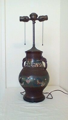Antique Champleve' Cloisenne Electric Lamp, Chinese