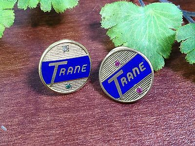 Two Trane Heating Air Conditioning Service Award Pins With Colored Stones