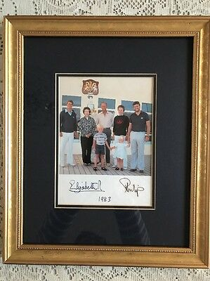Queen Elizabeth II & Prince Philip Signed Christmas Card Framed 1983