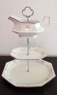 Pretty white floral three tier vintage bone china cake stand for afternoon tea