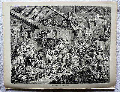 Hogarth - 'THE COMPANY OF STROLLERS' - Antique Wood Engraving/ Print (ca. 1870)