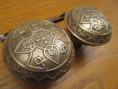 2 Old Eastlake ?? Door Knobs...brass?? Bronze ?? Ornate Nice