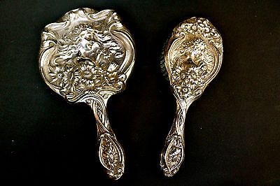 Unger Bros. Sterling Art Nouveau Victorian Mirror & Brush Figural Lady Daisies