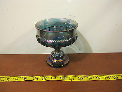 Vintage Indiana Carnival Glass Goblet Candy Dish Rainbow Blue