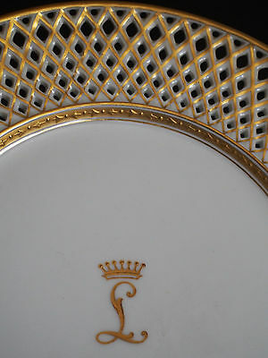 8 Antique Austria Wahliss Reticulated Gold Encrusted Crown Armorial Crest Plates
