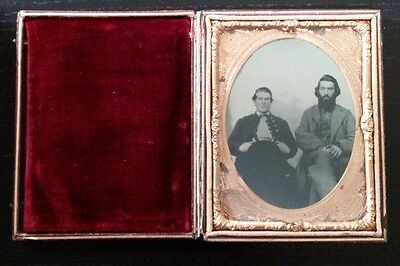 superb 4th plate civil war tintype of soldier and father?