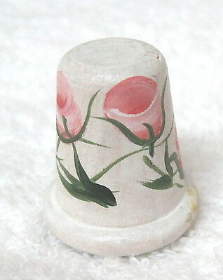Older Thimble Wood Hand Painted Pink Roses Signed KB Stunning M3