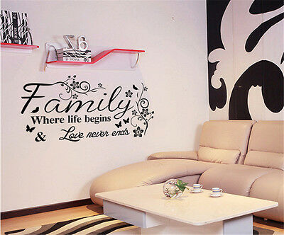 Words Family Room Decor Removable Wall Sticker Decal Decoration Wandtattoo