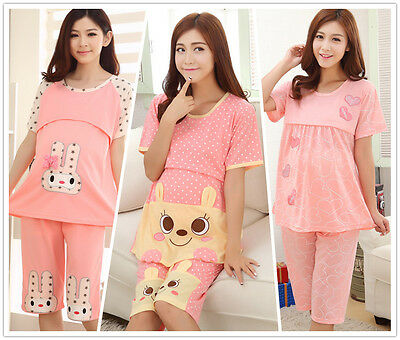Pink Cotton Maternity Lactation Sleepwear Women Nightwear Pajama Set L-2XL