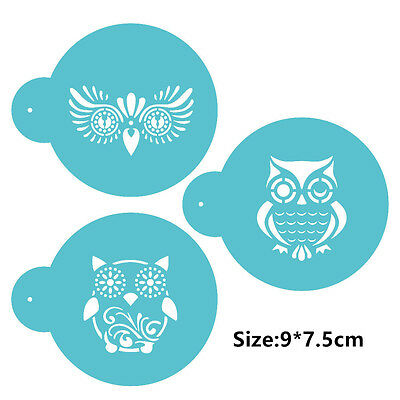 3 Pcs Packed Animals Owl Cookie Cake Stencil Decorate Mould Fondant Biscuit Tool