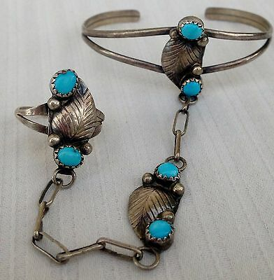 Beautiful Old Pawn Sterling Silver & Turquoise Cabochons 'Slave Bracelet' & Ring