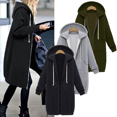 Women Winter Autumn Zip Up Casual Hooded Hoodies Coat Jacket Long Sleeve Outwear