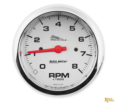 Auto Meter Procycle Street Tachometers  33/8In. 19301 3 3/8Stnd Tach W/Whte Fc D