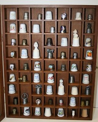 59 Thimble/Miniatures Display Case with assorted Thimbles Wood Cabnet glass door