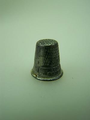"1920's miniature child's pewter thimble ""For a good girl""        1156"