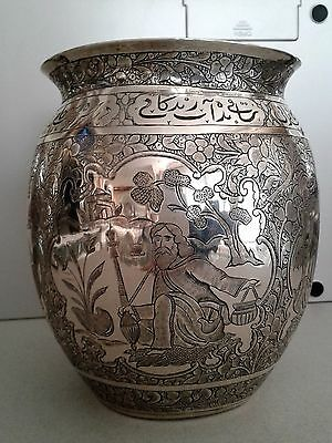 Beautiful Antique Persian Esfahan Solid Silver Figural And Inscribed Vase