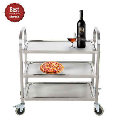 Commercial 3-Shelf Stainless Steel kitchen restaurant Utility Cart with Casters