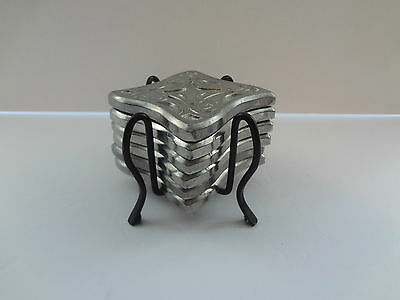 6 die cast metal coasters with stand cool design non scratch rubber feet barware