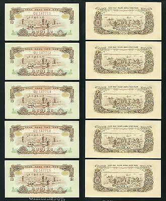 1966 Vietnam banknote 10 xu Pick 37 UNC condition < lot of 5 note >