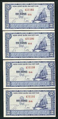 South Vietnam banknote 2 dong 1955 Pick 12 Lot of 4 note
