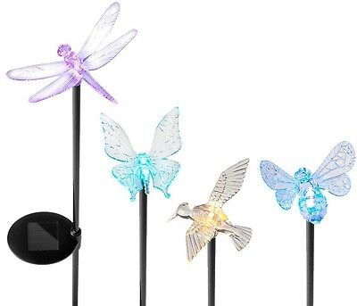 LED Outdoor Light Solar Powered Assorted Acrylic Insect Garden Stake Set 4-Pack
