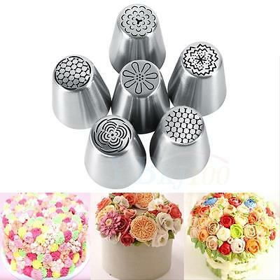 Sturdy 6Pcs Flower Shape Desserts Pastry Cake Icing Piping Nozzles Baking Tools