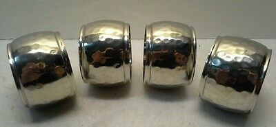 Lot of 4 Hammered Silver Plated Napkin Rings