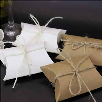 200pcs Cute Kraft Paper Pillow Gift or Wedding Favour Boxes Candy Cake Sweet Bag
