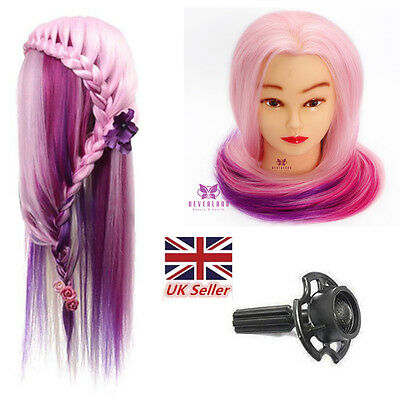 """24"""" Salon Colorful Hair Mannequin Practice Training Head Hairdressing & Clamp"""