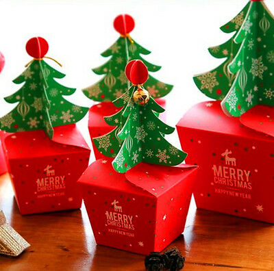 2017 Merry Christmas Tree Bell Party Paper Favour Gift Sweets Carrier Bags Boxes
