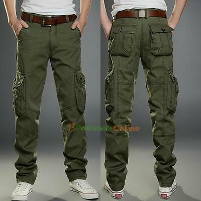Combat Mens Cotton Military Cargo Pants Work Camouflage ARMY Green Camo Trouser