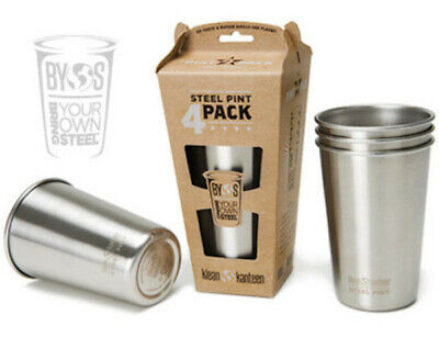 KLEAN KANTEEN 16oz 473ml PINT CUP 4 PACK Stainless Steel Stackable Dishwasher Sa
