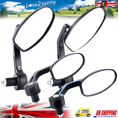 1 Pair 22mm Universal Handle Bar End Rear View Mirrors Motorcycle/Bike CNC Black