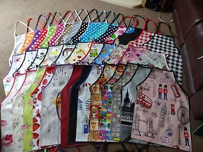 pvc waterproof aprons adult and childrens 5 sizes spots stars and check wipe cle