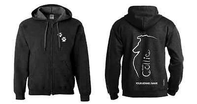 Collie (Rough) Full Zipped Dog Breed Hoodie, Exclusive Dogeria Design,
