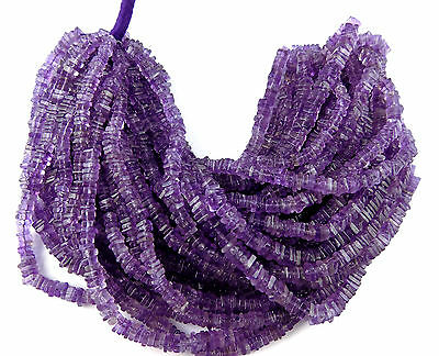 "2 Strand AAA Natural Amethyst Square 4-5mm 16"" Long Smooth Gemstone Heishi Beads"