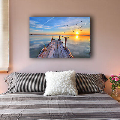 Beach Side Wharf Stretched Canvas Print Framed Wall Art Home Decor Painting