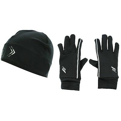 Unisex Rucanor Black Running Sports Set Gloves And Cap Hat